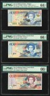 East Caribbean States Central Bank 10 (2); 20 Dollars ND (2000) Pick 38a; 48a; 49a Three Examples PMG Choice Uncirculated 64 EPQ; Gem Uncirculated 66 ...
