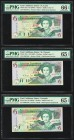 East Caribbean States Central Bank, Antigua 5 Dollars ND (2003) Pick 42a; 42Av; 42g Three Examples PMG Gem Uncirculated 66 EPQ; Gem Uncirculated 65 EP...