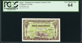 Egypt Egyptian Government 5 Piastres 1.6.1918 Pick 162 PCGS Very Choice New 64.   HID09801242017