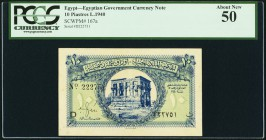 Egypt Egyptian Government 10 Piastres 1940 Pick 167a PCGS About New 50.   HID09801242017
