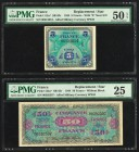 France Allied Military Currency 5; 50 Francs 1944 Pick 115a*; 122a* Two Replacement Examples PMG About Uncirculated 50 EPQ; Very Fine 25.   HID0980124...