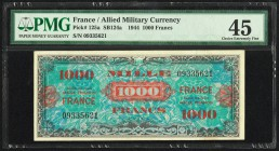 France Allied Military Currency 1000 Francs 1944 Pick 125a PMG Choice Extremely Fine 45.   HID09801242017