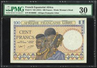 French Equatorial Africa Afrique Francaise Libre 100 Francs ND (1941) Pick 8 PMG Very Fine 30. Pinholes.  HID09801242017
