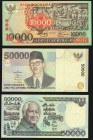 Indonesia Bank Indonesia 10,000 Rupiah 1975 Pick 115; 50,000 Rupiah 1995 Pick 136a with Up Ladder Serial Number 123456; 50,000 Rupiah 1999 Pick 139a w...