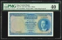 Iraq Central Bank of Iraq 1 Dinar 1947 (ND 1959) Pick 48 PMG Extremely Fine 40. Pinholes; retouched.  HID09801242017