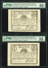 Italy Italian States 10 Paoli 1798 Pick S540a; S540d Two Examples PMG Choice Uncirculated 64 EPQ; About Uncirculated 53. As made paper wrinkles. Minor...