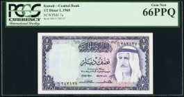 Kuwait Central Bank of Kuwait 1/2 Dinar 1968 Pick 7a PCGS Gem New 66PPQ.   HID09801242017