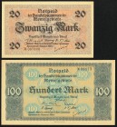 Memel French Administration 20; 100 Mark 22.2.1922 Pick 6b; 9 Crisp Uncirculated.   HID09801242017