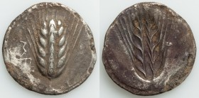 LUCANIA. Metapontum. Ca. 540-510 BC. AR stater or nomos (28mm, 7.12 gm, 12h). VF, scratches, encrustation. MET (downward on left), eight-grained barle...