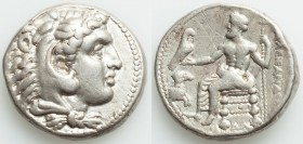 MACEDONIAN KINGDOM. Alexander III the Great (336-323 BC). AR tetradrachm (26mm, 17.05 gm, 11h). VF, scratches, buffed. Lifetime or early posthumous is...
