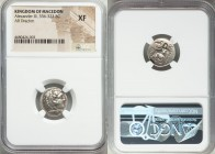 MACEDONIAN KINGDOM. Alexander III the Great (336-323 BC). AR drachm (16mm, 7h). NGC XF. Lifetime issue of Sardes, ca. 330/25-324/3 BC. Head of Heracle...