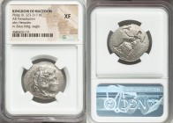 MACEDONIAN KINGDOM. Philip III Arrhidaeus (323-317 BC). AR tetradrachm (28mm, 7h). NGC XF. Babylon, ca. 323-318/7 BC. Head of Heracles right, wearing ...
