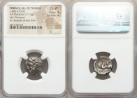 THRACIAN ISLANDS. Thasos. Ca. 400-335 BC. AR didrachm (17mm, 7.14 gm, 9h). NGC Choice VF 4/5 - 4/5. Head of Dionysus left, wearing ivy wreath / ΘΑΣΙΟΝ...