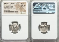 THESSALY. Larissa. Ca. 356-342 BC. AR drachm (18mm, 6.08 gm, 11h). NGC AU S 4/5 - 5/5, Fine Style. Head of nymph Larissa facing slightly left, wearing...