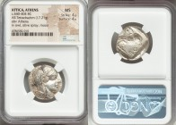 ATTICA. Athens. Ca. 440-404 BC. AR tetradrachm (23mm, 17.21 gm, 7h). NGC MS 4/5 - 4/5. Mid-mass coinage issue. Head of Athena right, wearing crested A...