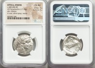 ATTICA. Athens. Ca. 440-404 BC. AR tetradrachm (25mm, 17.18 gm, 2h). NGC Choice AU 5/5 - 5/5. Mid-mass coinage issue. Head of Athena right, wearing cr...