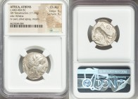 ATTICA. Athens. Ca. 440-404 BC. AR tetradrachm (23mm, 17.19 gm, 4h). NGC Choice AU 5/5 - 5/5. Mid-mass coinage issue. Head of Athena right, wearing cr...