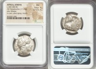 ATTICA. Athens. Ca. 440-404 BC. AR tetradrachm (24mm, 17.19 gm, 7h). NGC AU 4/5 - 4/5. Mid-mass coinage issue. Head of Athena right, wearing crested A...