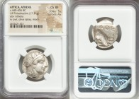 ATTICA. Athens. Ca. 440-404 BC. AR tetradrachm (24mm, 17.21 gm, 3h). NGC Choice XF 5/5 - 4/5. Mid-mass coinage issue. Head of Athena right, wearing cr...