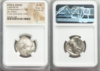 ATTICA. Athens. Ca. 440-404 BC. AR tetradrachm (23mm, 17.19 gm, 10h). NGC Choice XF 3/5 - 4/5. Mid-mass coinage issue. Head of Athena right, wearing c...