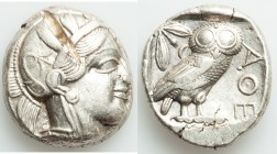 ATTICA. Athens. Ca. 440-404 BC. AR tetradrachm (22mm, 17.21 gm, 6h). VF, test cut. Mid-mass coinage issue. Head of Athena right, wearing crested Attic...