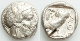 ATTICA. Athens. Ca. 440-404 BC. AR tetradrachm (22mm, 17.19 gm, 1h). Fine, test cuts. Mid-mass coinage issue. Head of Athena right, wearing crested At...