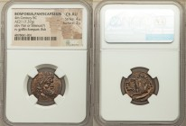 CIMMERIAN BOSPORUS. Panticapaeum. 4th century BC. AE (21mm, 7.37 gm, 11h). NGC Choice AU 4/5 - 3/5. Bearded head of Pan right / Π-Α-Ν, forepart of gri...