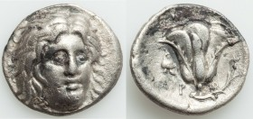 CARIAN ISLANDS. Rhodes. Ca. 300-250 BC. AR didrachm (20mm, 6.46 gm, 12h). VF. Ca. 304-266 BC, Erasicles, magistrate. Radiate head of Helios facing, tu...