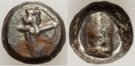 ACHAEMENID PERSIA. Time of Darius I-Xerxes I (ca. 505-480 BC). AR siglos (14mm, 5.38 gm). VF. Sardes mint. Persian king or hero, wearing cidaris and c...