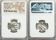 PHOENICIA. Tyre. Ca. 126/5 BC-AD 65/6. AR half-shekel (23mm, 7.10 gm, 11h). NGC AU 5/5 - 3/5. Dated Civic Year 47 (80/79 BC). Laureate head of Melqart...