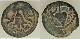 JUDAEA. Herodians. Herod Archelaus (4 BC-AD 6). AE prutah (17mm, 1.95 gm, 6h). VF. EΘNAPXOY (of the Ethnarch), crested helmet with cheek straps; caduc...