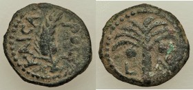 JUDAEA. Roman Procurators. Coponius (AD 6-9) AE prutah (16mm, 2.30 gm, 5h). VF. Jerusalem, Regnal Year 36 of Augustus (AD 5/6). KAICA-POC, grain ear /...