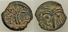 JUDAEA. Roman Procurators. Marcus Ambibulus (AD 9-12). AE prutah (17mm, 1.47 gm, 12h). VF. Jerusalem, dated Regnal Year 40 of Augustus (AD 9/10). KAIC...