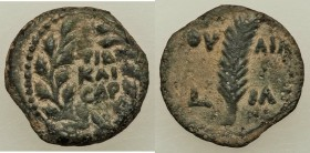 JUDAEA. Roman Procurators. Valerius Gratus (AD 15-26). AE prutah (15mm, 1.89 gm, 12h). VF. Jerusalem, dated Regnal Year 11 of Tiberius (AD 24/5). TIB ...