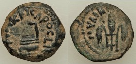 JUDAEA. Roman Procurators. Pontius Pilate (AD 26-36). AE prutah (16mm, 1.89 gm, 11h). VF. Jerusalem, dated Regnal Year 16 of Tiberius (AD 29/30). TIBE...