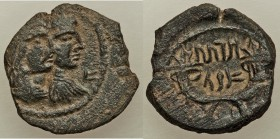 NABATAEAN KINGDOM. Aretas IV and Shaqilat (9 BC-AD 40). AE (19mm, 4.50 gm, 12h). XF. Petra, AD 20-40. Jugate busts of Aretas and Shaqilat right, lette...