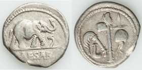 Julius Caesar, as Dictator (49-44 BC). AR denarius (19mm, 3.70 gm, 1h). Fine, edge chip, scratches. Military mint traveling with Caesar in northern It...