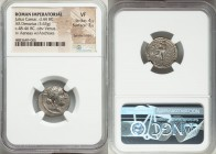 Julius Caesar, as Dictator (49-44 BC). AR denarius (17mm, 3.63 gm, 7h). NGC VF 4/5 - 3/5, bankers marks. Military mint moving with Caesar in North Afr...