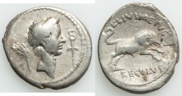 Julius Caesar (49-44 BC). AR denarius (18mm, 3.70 gm, 3h). Choice Fine, scratches, flan flaws. Rome, 42 BC, L. Livineius Regulus, moneyer. Laureate he...