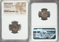 Trajan (AD 98-117). AR denarius (18mm, 3.13 gm, 7h). NGC AU 5/5 - 2/5. Rome, AD 98-99. IMP CAES NERVA TRA-IAN AVG GERM, laureate head of Trajan right ...