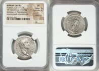 Hadrian (AD 117-138). AR cistophorus (26mm, 10.14 gm, 7h). NGC VF 5/5 - 4/5, overstruck, countermark on undertype. Ephesus, after AD 128. HADRIANVS-AV...