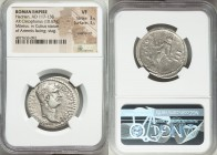Hadrian (AD 117-138). AR cistophorus (29mm, 10.67 gm, 7h). NGC VF 3/5 - 3/5, overstruck. Miletus, after AD 128. HADRIANVS-AVGVSTVS P P, bare head of H...