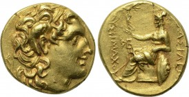 KINGS OF THRACE. Lysimachos (305-281 BC). GOLD Stater. Uncertain mint. 