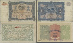 "Afghanistan: Small lot with 3 banknotes 1 Afghani SH 1298 (1919) P.1 (F), 50 Afghanis SH 1307 (1928) with handstamps ""Baccha i Saqao"" Revolution P.13 ..."