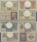 Albania: 2, 2x 5 and 10 Lek ND(1940-42), P.9, 10, 11 in VF to XF condition. (4 pcs.)