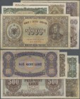 Albania: Banka e Shtetit Shqiptar set with 5 Banknotes 1947 series with 10, 50, 100, 500 and 1000 Leke, P.19-23 in F- to aUNC condition. (5 pcs.)