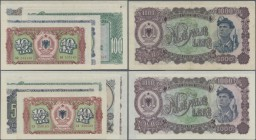 Albania: Set with 10 banknotes 1949 and 1957 issue with 5, 50, 100, 500 and 1000 Leke, P.24-27A in VF to aUNC and 5, 50, 100, 500 and 1000 Leke 1957 P...