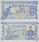 Albania: 100 Leke ND(1985) color trial Specimen in blue and dull red color, P.46Aas1 in UNC condition. Very Rare!