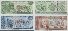 Albania: 200, 500 and 1000 Leke 1992, P.52-54, tiny spot on the 500, otherwise all in UNC. (3 pcs.)