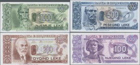Albania: 1993-1996 issue with 2x 100, 200, 500 and 1000 Leke, P.55b,c, 56, 57, 58, all in UNC. (5 pcs.)